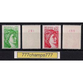 Type Sabine. 1981. Roulette. Numéro Rouge Au Verso. 1,40f Vert Y & T 2157a Et 1,60f Rouge Y & T 2158a.