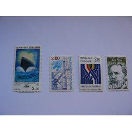 Lot de 4 timbres 35 éme Festival de Cannes N° 2212, 20 éme anniversaire C.N.E.S. N° 2213, Sommet des pays industrialisés Château de Versailles N° 2214, 150 éme Anniversaire de Jules Vallés N° 2215,