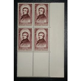 FRANCE N° 797 neuf sans charnière de 1948 - 4f + 3f brun-lilas « Centenaire de la Révolution de 1848 : Louis Blanc » en blocs de 4 timbres avec bord de feuille - Cote 6,40 euros