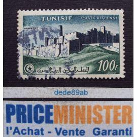 tunisie..  100 f r.f. poste aérienne . vue de monastir . oblitéré.