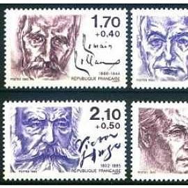 france 1985 - TB sétie écrivains : 2355 R. Rolland, 2356 J. Romains, 2357 J.P. Sartre, 2358 V. Hugo, 2359 R. Dorgelès, 2360 F. Mauriac, neufs** luxe