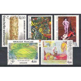 france, 1984, série artistique, art (césar, jean messagier, pierre bonnard, andré masson, jean hélion), N°2299 à 2301 + 2342 + 2343, oblitérés.