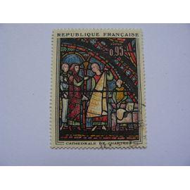 Timbre du vitrail de la cathédrale de Chartre ( les marchands de fourrure) oblitéré N° 1399