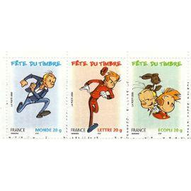 """FRANCE 2006: """"Fête du timbre"""" """"FANTASIO + SPIROU"""" (validité permanente 20g; France+Monde+ Ecopli)  trityque non détaché issu carnet; Yvert & Tellier n°3879+3877 A+3878 - 3 valeurs neuves non détachées"""