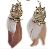 Boucles d/'Oreilles plumes marron mouchetées et chaine argentée top tendance