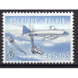 """BELGIQUE 1960 : """"Parachutisme"""" : Largage - Timbre 40 c. + 10 c. bleu foncé et noir NEUF **"""