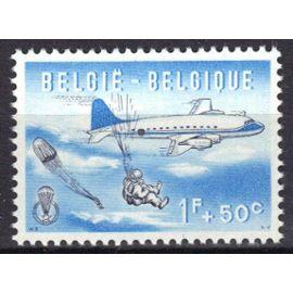 """BELGIQUE 1960 : """"Parachutisme"""" : Largage - Timbre 1 F. + 50 c. bleu  et noir NEUF **"""