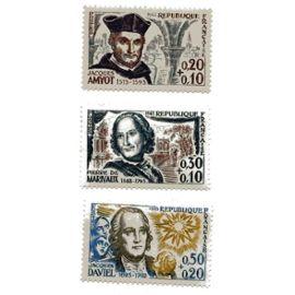Lots de 3 timbres N° 1370 (Jacques Amyot), 1372 (Pierre de Marivaux), 1374 (Jacques Daviel) neufs ++