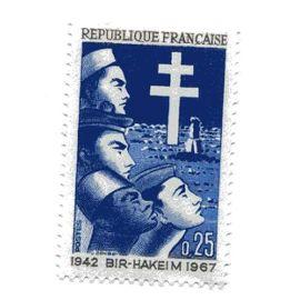 Timbre du 25éme anniversaire de la Victoire de Bir-Hakeim N° 1532 neuf ++