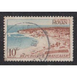 Timbre N°978 Y&T 10,00 F brun-rouge et bleu clair série touristique royan