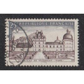 Timbre N°1128 Y&T 25,00 F brun-rouge et gris-bleu série touristique château de valençay
