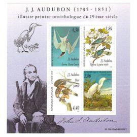 france, 1995, blocs et feuillets, série arts décoratifs, hommage au peintre ornithologue j.-j. audubon, bloc n°18, neuf.
