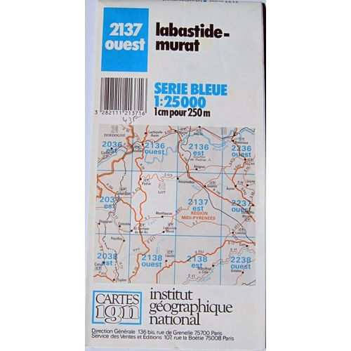 Labastide Murat Carte Ign 1 25000 Serie Bleue 2137 Ouest Rakuten