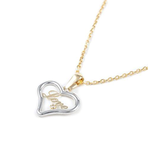Lucky Ring Hollow Heart Crystal Love Pendentif Long Collier Set or blanc rempli