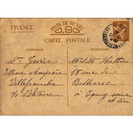 Carte postale ancienne, france, correspondance familiale seconde guerre mondiale, entier postal ...