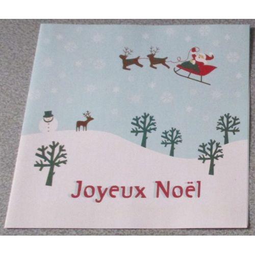 Carte Double De Correspondance Joyeux Noël Fond Bleu Clair Décorée Du Traineau Du Père Noël Et Ses Rennes Au Dessus De La Forêt Enneigée Dessin
