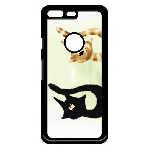 Coque Pour Smartphone Dessin Chat Noir Et Chat Roux Compatible Avec Google Pixel Plastique Bord Noir