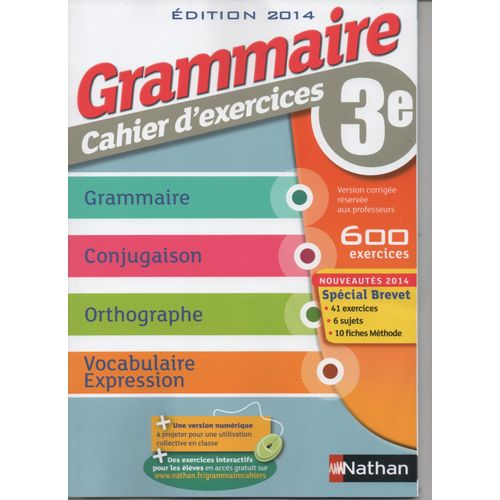 Grammaire Cahier D Exercices 3e Edition 2014 Version