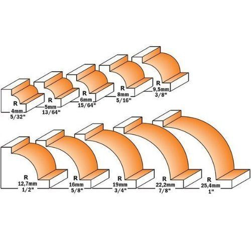 Rayon mm.10 /Ø queue mm.8 Long utile mm.14 Rouulement pour fraise a profil 1//4 rond G/én/érique /Ø mm.32
