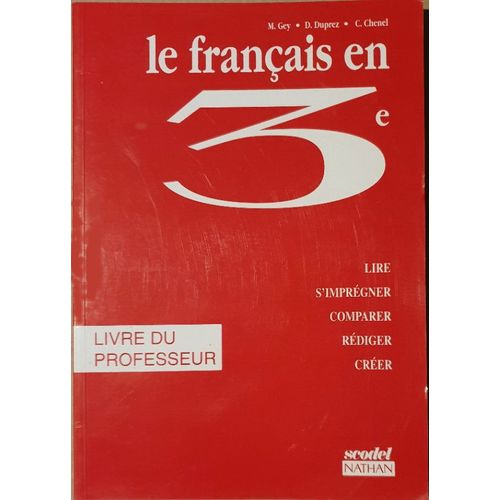 Le Francais En 3eme Livre Du Professeur