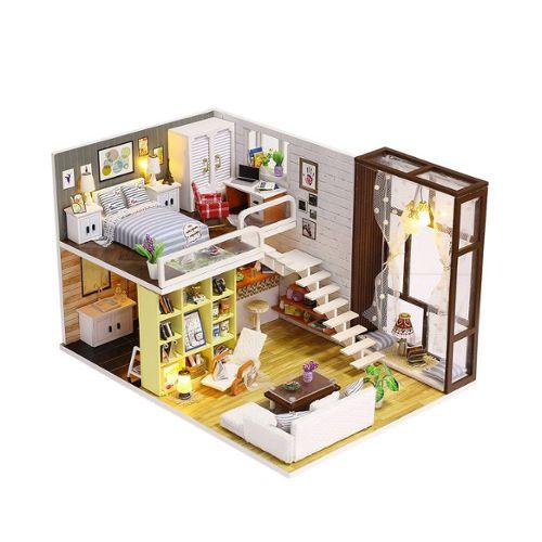 Maison De Poupee Diy Miniature 3d En Bois Chambre De Poupee Avec Des Meubles Jouet Educatif Cadeau Pour Enfants Decoration K 028
