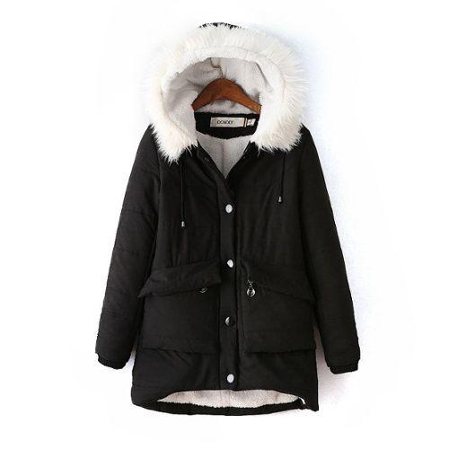 Manteau militaire fourrure noir
