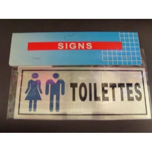 Plaque grav/ée autocollante 8cm Toilettes mixte fond alu bross/é