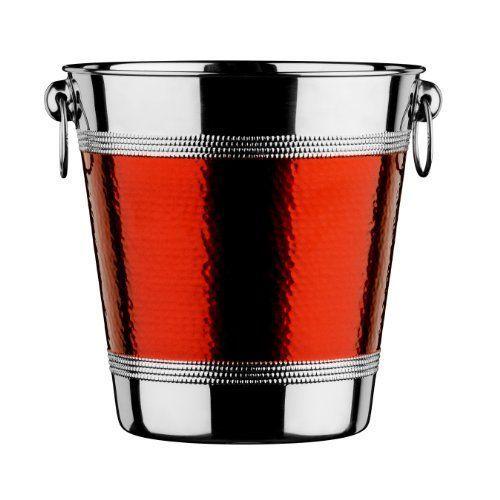 Premier Housewares 0507780 Seau de Champagne//Vin avec Bande en Acier Inoxydable Effet Martel/é Rouge