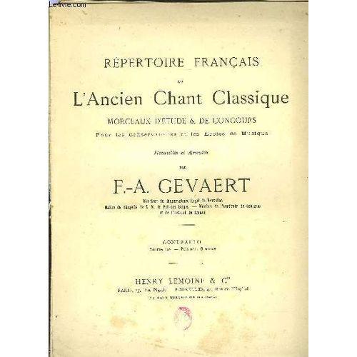 Repertoire Francais De L Ancien Chant Classique Volume 10eme