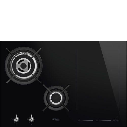 Smeg Elite Pm3721wld Table De Cuisson Mixte Induction Et Gaz 4 Plaques De Cuisson Niche Largeur 71 9 Cm Profondeur 48 2 Cm Noir Avec