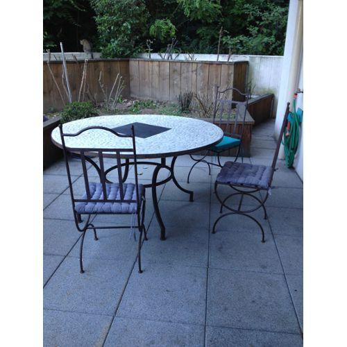 Black Friday table ronde en mosaïque piétement en fer forgé ...