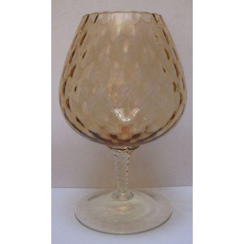 Ancien Verre Geant Vase Coupe Chope A Pied Fume Marron 295 Mm Verrerie D Art Espagne 60 70 S