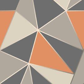 Apex Geometrique Papier Peint Orange Brule Et Gris Fine Decor Fd42002