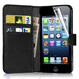 apple iphone 5 5s etui portefeuille housse coque pochette book en cuir pu format livre horizontale emplacement cartes couleur noir film d ecran 975791507 ML