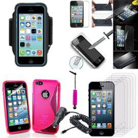 Apple Iphone 5 5s Lot Coque Etui Housse Pochette Accessoires Silicone Gel Films Verre Trempe Stylet Chargeur Voiture Brassard Sport