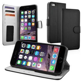 apple iphone 6 plus etui portefeuille livre housse coque pochette support video cuir pu noir 1013757427 ML