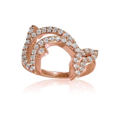 Tri Tone Or Rose//Or rose//argent sterling zircon cubique Eternity Band Ring