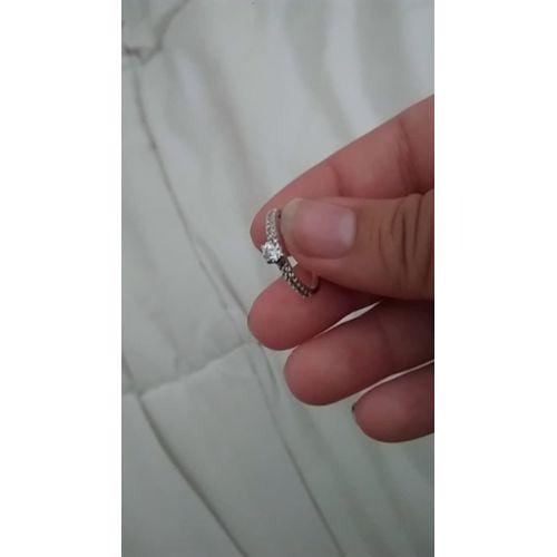 Lot de 2 Made in Corée Croix 18K Or Rose Zircone cubique Gem Inside Bandes Couple Love Rings