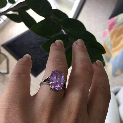 bague argent avec pierre violette