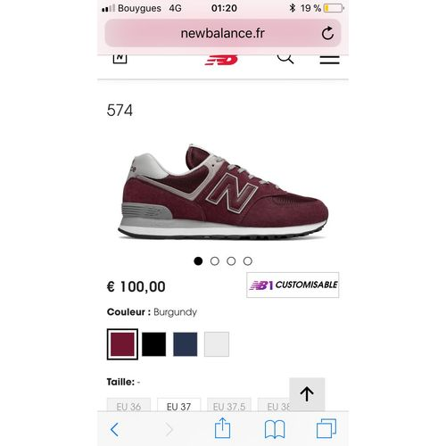 taille basket new balance