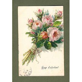 C P Ancienne Chromo Gaufré Bouquet De Roses Dessin Très Réaliste Gage D Affection