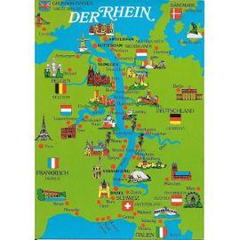 Carte Allemagne Geographique.Carte Geographique Illustree De La Vallee Du Rhin Allemagne