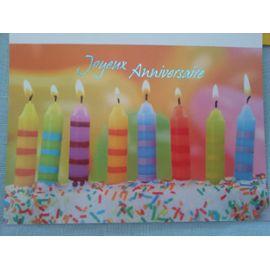 Carte Joyeux Anniversaire 8 Bougies Multicolores Allumées Sur Un Gâteau Son Enveloppe Jaune Vif