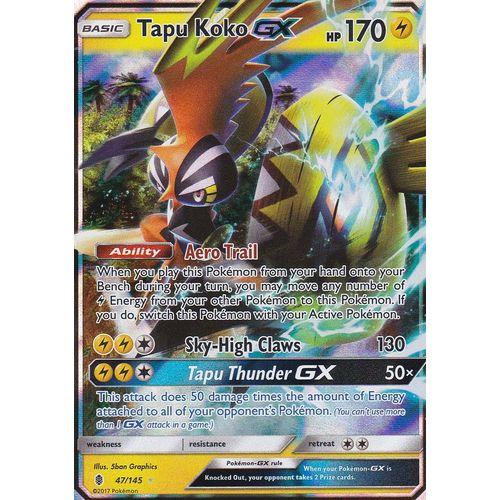 carte pokemon tokorico gx ANGLAISE 47/145 TOKORICO GX ULTRA RARE POKEMON TAPU KOKO GX SL2