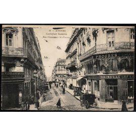 Carte Postale Ancienne France Maine Et Loire 49 Angers Carrefour Rameau Rue Chaussée Saint Pierre Voitures à Cheval Animée