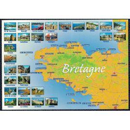Carte Bretagne Lieux Touristiques.Carte Postale Postcard Carte De Bretagne Les Sites Touristiques