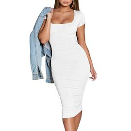 Casual Basic Fronce Femmes Robes Moulante A Manches Courtes Sexy Club Robe Mi Longue Rakuten