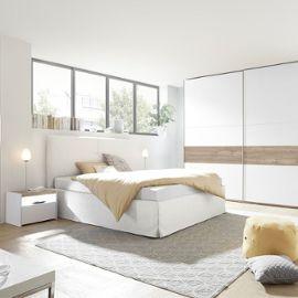 Chambre Moderne Blanche Et Couleur Noyer Nerina Lit 160 Cm