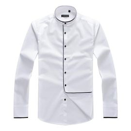 Manches Longues Blanche Chemise Tops Fit Slim Szumqvpg Mao Homme Col tsQrxCdh