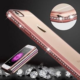 coque diamant iphone 6 6s de bling luxe placage cadre pc transparent protection tpu or rose 1429637164 ML